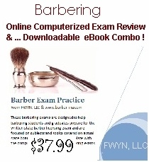 Barber State Board Exam Practice in a printable eBook combined with online exam practice